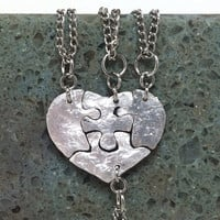 Heart  Shaped Puzzle piece pendants  Set of 4 Fine silver