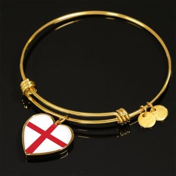 English Pride - 18k Gold Finished Heart Pendant Bangle Bracelet