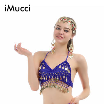 iMucci 9 Colors Lotus Leaf Sleeveless Women Belly Dance Top 120D High Density Chiffon Bollywood Costume Dancewear 102 Bra