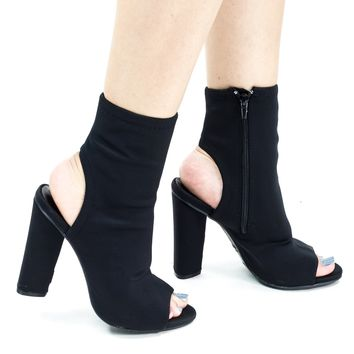 Sunlight04 Black F-Suede by Bamboo, Peep Toe Ankle Bootie w Chunky Block Heel & Open Heel & Zipper