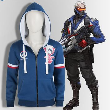 Soldier 76 Tracer Cosplay Sweatshirt Game Cos for Men's Coat Adult Halloween Blue Sweater Cosplay Jacket Hoodie Customized