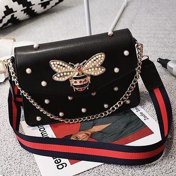 Gucci Trending Women Stylish Leather Multicolor Bee Pearl Metal Chain Crossbody Satchel Single Shoulder Bag Handbag (5-Color) Black I13138-1