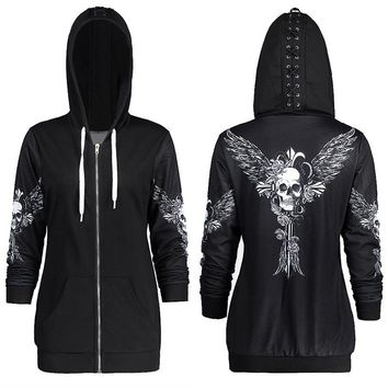 Plus Size Angel Wing Skull Print Zip Up Hoodie Women Casual Lace Up