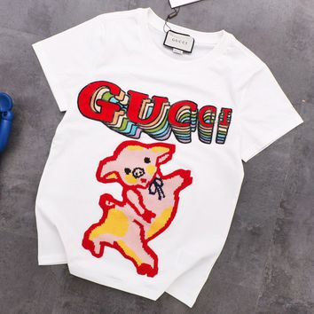 GUCCI Fashion New Embroidery Sequin Letter Pig Women Top T-Shirt White