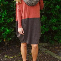 Color Block Long Sleeve Knit Dress