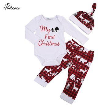 3pcs Xmas set Newborn Baby Girls Boys My First Christmas long sleeve Tops Romper+Deer Long Pants Hat Outfits