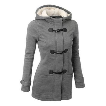 5XL Women's Trench Coats Outwear Thick Lining Winter Jacket Overcoat Female Casual Long Hooded Zipper Horn Button Coat
