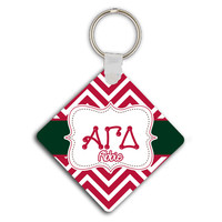 ALPHA GAMMA DELTA - THIN RED CHEVRON WITH GREEN -  AGD MONOGRAMMED  SORORITY KEYCHAIN