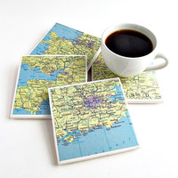 England Map Coasters / Home Decor Gifts / Gifts for Him / Gifts for Mom / Christmas Gifts Under 50 / Gift for Inlaws / England Decor