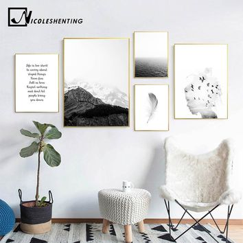 NICOLESHENTING Scandinavia Wall Art canvas Abstract Painting Mountain Sea Feather Landscape Poster Nordic Decoration Pictures