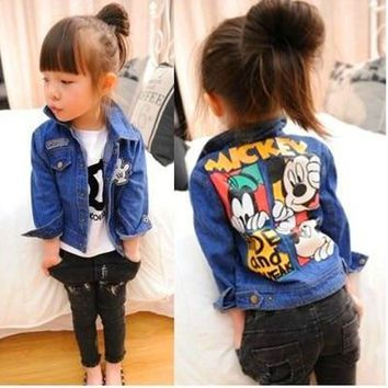 Trendy Autumn Spring Children outerwear Jeans jacket casual coat Fashion baby boys Cartoon coat Kids mickey Minnie clothes 2-7 AT_94_13