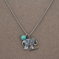 elephant necklace,turquoise necklace,short necklace,silver necklace,bridesmaids wedding gift,personalized love gift,besties sisiters gift