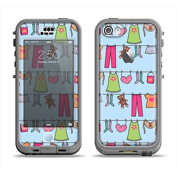 The Neon Clothes Line Pattern Apple iPhone 5c LifeProof Nuud Case Skin Set