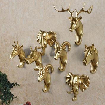 3D animal head wall hooks Gold Deer wall hook home accessories resin coat hook pared Hooks for bathroom