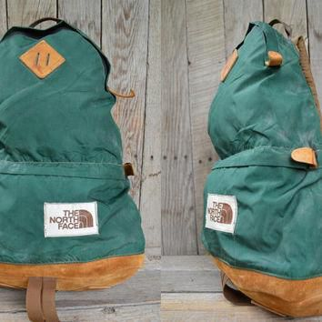 Vintage THE NORTH FACE Leather Bottom Tear Drop Two Compartment Daypack Backpack