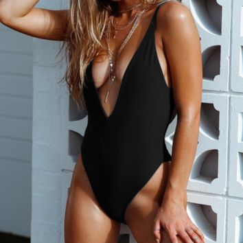 Women's solid color sexy one-piece swimsuit deep V-neck back fold bikin black