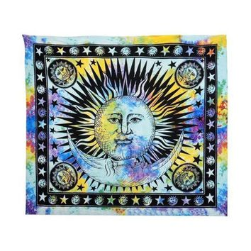 Durable Celestial Sun Hippy Tapestry Wall Hanging Throw Boho Window Doorway Curtain Beach Bikini Cover Up Shawl Pashmina Dec2