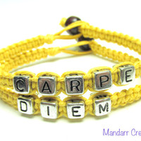 Carpe Diem Seize the Day, Inspirational Quote Bracelet Set, Bright Yellow Hemp Jewelry