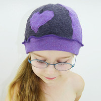 Upcycled Sweater Tuque for Kids in Purple Mauve - Heart - Winter Hat Cap