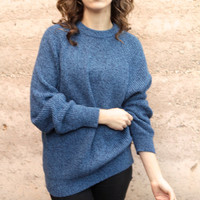 vintage 90s blue & black textured grunge SLOUCHy warm sweater