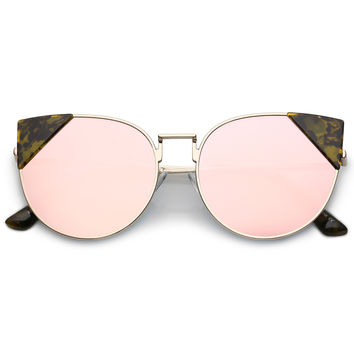 Women's Corner Accented Mirrored Flat Lens Cat Eye Sunglasses C342