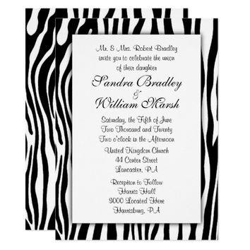 Zebra Print Wedding Card