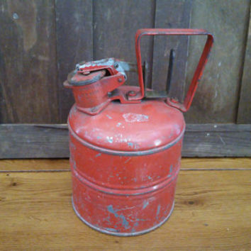 Vintage Red Industrial JustRite Safety Gas Can
