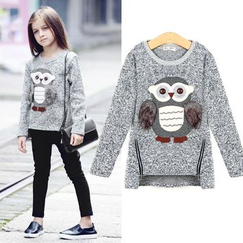 Autumn 2016 European Style Teenage T-shirts Sweater Children's Owl Knitting Monsoon Girls T shirt Baby Clothing Winter Cold