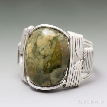 Rainforeset Jasper Sterling Silver Wire Wrapped Cabochon Ring