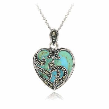 Vintage Turquoise and Sterling Silver Heart Shaped Pendant