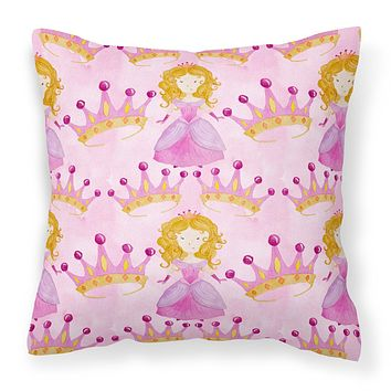 Watercolor Princess and Crown Fabric Decorative Pillow BB7551PW1414