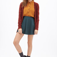 FOREVER 21 Dotted Crepe Blouse Brown/Cream