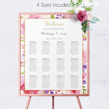 Weddint Reception Seating Plan, Ceremony, Seating Chart, Wedding Seating Sign, Seating Chart Sign, Editable Seating, DIY Table Plan