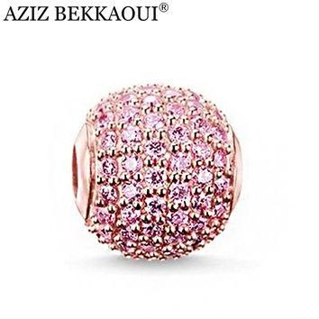 Free shipping fashion jewelry pink crystal beads fit for pandora bracelet rose gold co