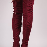 Suede Drawstring Fitted OTK Chunky Heel Boots