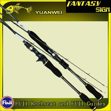Yuanwei 1.8m 2.1m Spinning Rod 2 Section Carbon Fiber Lure Fishing Pole M ML MH Casting Rod Canne A Peche Vara De Pesca A054