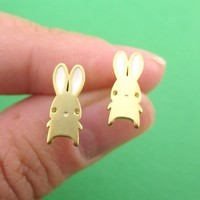 Little Cartoon Bunny Rabbit Shaped Stud Earrings in Gold | DOTOLY
