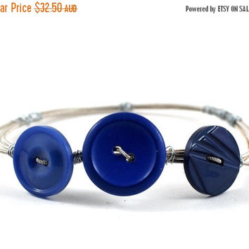ON SALE Guitar String Jewelry Bangle with Upcycled Blue Cobalt Indigo Buttons on Guitar Strings Music Gift