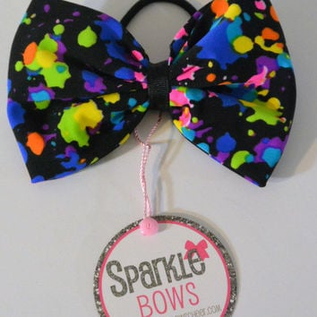 Spotted Neon Perfect Pony Tail  Bow Tie Hair Bow