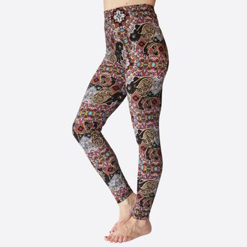 "Abstract Elephant Print Peach Skin 1"" Waist Band Soft Brush Leggings"