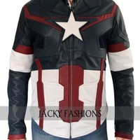 2015 Movie Avengers Age of Ultron Captain America blue Jacket + FREE GIFT