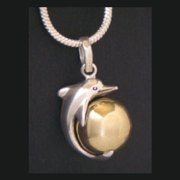 Harmony Ball with a 925 Sterling Silver Dolphin mounted on a Brass Chime Ball depicting the Globe | Bola Necklace, Baby Shower Gift idea 099