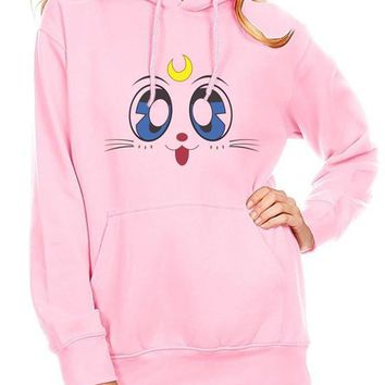 White Sailor Moon Cartoon Print Drawstring Pockets Hooded Casual Cute Sweatshirt