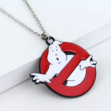 Movie Ghostbusters Logo Necklace for Women and Men Red White Enamel Ghost Kitsch Big Necklaces Jewelry