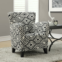 """Accent Chair - Black / Beige """" Abstract """" Fabric"""