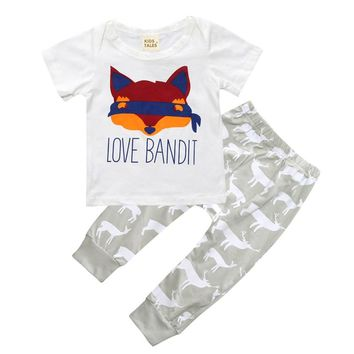 0-2Y Baby Clothes Sets Children Summer Short Sleeve Boys Fox Printing T shirt+Deer Print Pants 2Pcs Suit Baby Girls Clothing