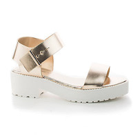 Teela13 Open Toe Slingback Snap On Buckle Lugsole Flatform Sandal