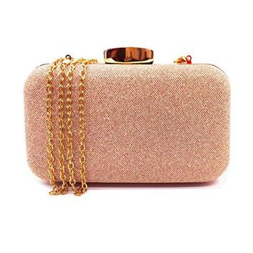 Lxinrong Glitter Evening Clutches Bags Prom Box Clutch Purses Bridal Purse for women Wedding and Party Rose Gold
