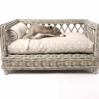 The Raised Rattan Dog Bed