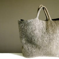 Ahs Brown Wool Felted Tote Bag,  Felted Wool Message Bag, eco friendly,Slow Design, momoish